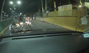 Overloaded Motorcycle Runs Out of Room While Overtaking
