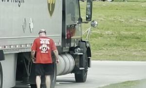 Trucker Practicing Striking Techniques on Break