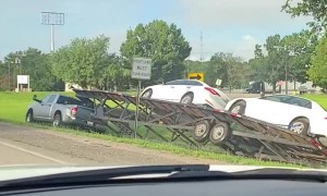 Truck Driver Takes Towed Cars on Grassy Detour