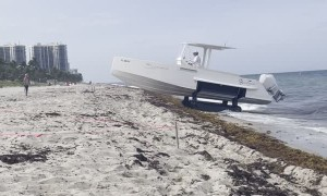 Boat Drives Itself Over the Beach