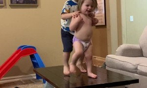 Jealous Brother Gives Dancing Sibling A Push