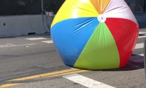 Giant Beach Ball Rolling By