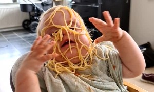 Baby Pours Plate of Pasta Straight Onto Her Face