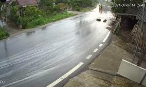 Speeding Truck Tips Over on Slippery Road