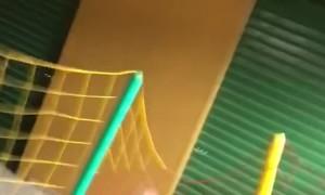Woman Bounces Off Trampoline