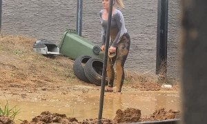 Friend Can't Resist Perfect Mud Pit Opportunity