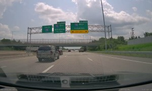 Suddenly Swerving SUV Nearly Collides with Other Cars