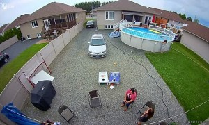 Boy Panics After Flipping off Pool Mat