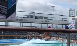 Rough Seas Create Wave Pool on Cruise Ship
