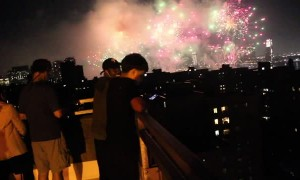 Fireworks Explode Right by Rooftop Viewers