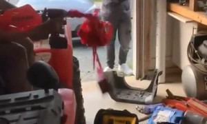 Taped Up Drill at Full Speed Creates Wacky Situation
