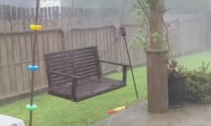 Hurricane Winds Send Trampolines Soaring