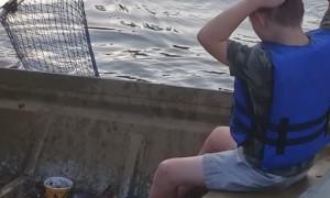Baited Noodles Help Boy Catch Catfish