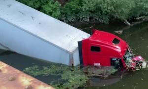 Semi Truck Goes For a Swim