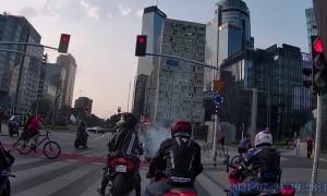 Pedestrian Attacks Motorcycle Parade