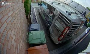 Squirrel Climbs Van to Escape Fox