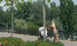 Stoller Pushed by Gliding Roller Skater