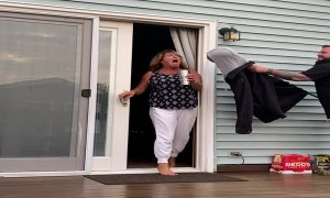 Scaring Mom with Zombie Head