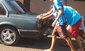 Toddy the Dog Helps Friends Push Car