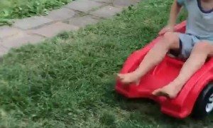 Cool Kiddo Gets Clotheslined by Cardboard