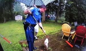 Police rescued blind, deaf & elderly dog from long forgotten cistern
