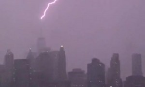 Lightning strikes the top of the One World Trade Center
