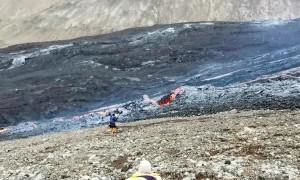 Fast Lava Flow After Volcanic Eruption