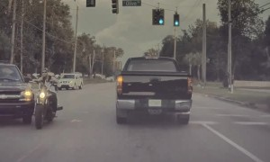 Motorcycle Rips Bumper Bar Clean off Car in Extremely Close Call