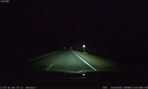 Driver Surprised by Stranded Car During Night Drive