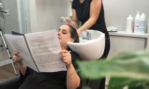 Shampooing at Salon Gets Cut Short