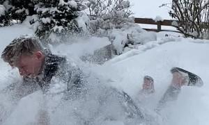 Trampoline Snow Landing