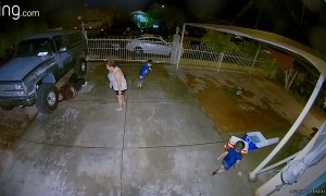 Water Balloon Fight Ends in Faceplant
