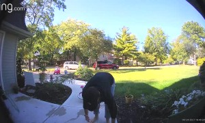 Path Becomes Obstacle Course for Unsuspecting Parent