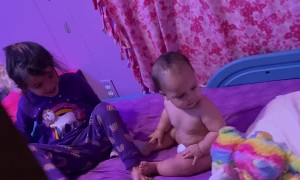 Sister Throws Soft Toy at Baby Brother