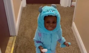Toddler in costume caught red-handed sneaking donuts