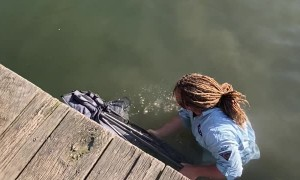 Fisherman Falls From Pier and Pukes