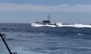 Spanish Maritime Patrol Boat Aggressively Passes Fishing Boat