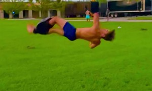 Man Practicing Gymnastics Spins out of Pants