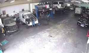 Mechanic Picks Up Chased Pet