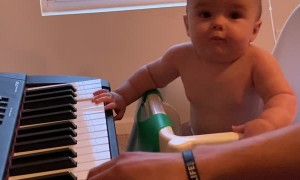 Baby Gus Grooves to Piano Playing