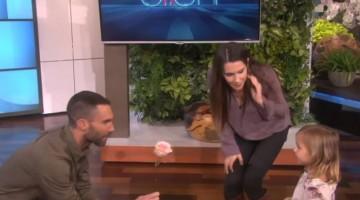 Watch a cute little girl\'s amazing reaction when meets Adam Levine on The Ellen Show