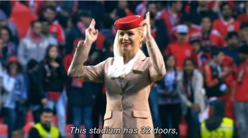 Can you imagine safety instructions by Air Hostesses in football ground; Watch this amazing and unique video by Emirates crew