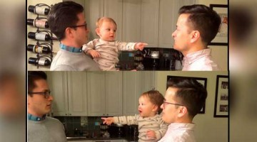 Baby got confused after seeing dad\'s twin, video goes viral
