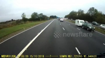 Caravan travelling wrong way down M40 causes major crash