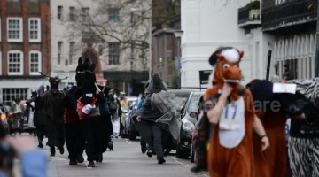 Pantomime horses race through London with several pub pit stops