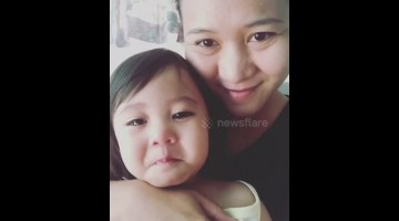 Baby girl gets emotional tears when listening to mum's singing