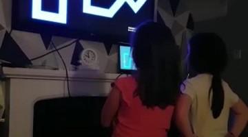 Game on Screen Startles Girls