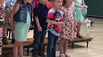 Young Patriot Sings the National Anthem at His Preschool Graduation