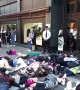 "Extinction Rebellion activists hold dramatic ""die-in"" outside Harrods and one rants at security guards"