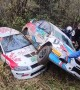 Rally Cars Struggle to Make Turn at Race Track